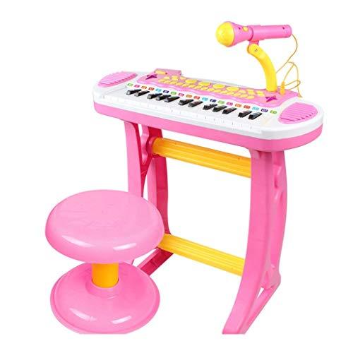 XHZNDZ Spielzeugklaviertastatur for Kinder mit echtem Funktionsmikrofon Elektronisches Musikinstrument Klaviertastatur mit Aufnahme und Wiedergabe, Synthesizer und Hocker (Color : Pink)