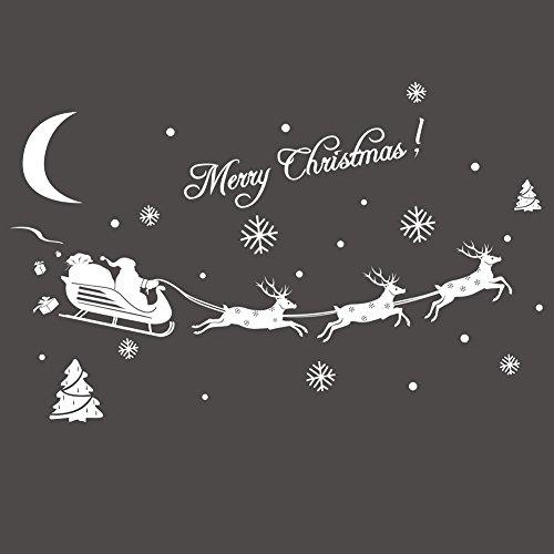TEBAISE Weihnachten Karneval Deco Deko Weihnachten Fensterbild Abnehmbare Fensterdeko Statisch Haftende PVC Aufkleber Winter Dekoration