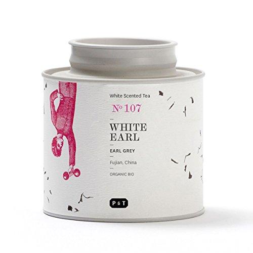 P & T White Earl, Bio Ganzblatt-Weißtee-Mischung, Earl Grey Style Mix aus chinesischem weißen Tee und Bergamotte, Metalldose (40g / 1.4oz)