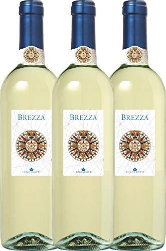 VINELLO 3er Weinpaket Weißwein - Brezza Bianco 2019 - Lungarotti mit Weinausgießer | trockener Weißwein | italienischer Sommerwein aus Umbrien | 3 x 0,75 Liter