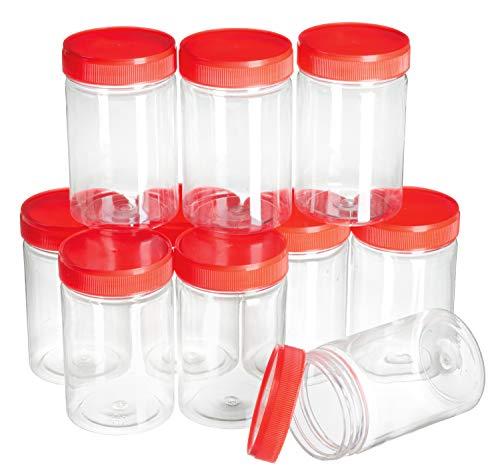 10 Vorratsdosen mit Schraubdeckel rot Kunststoff 200ml VBS Großhandelspackung