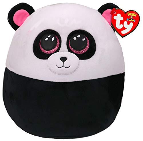 TY- Squish a Boos Kissen, Motiv Paris der Panda, 40 cm, Weiß/Schwarz