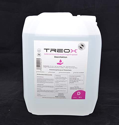 Treox Breitband- Desinfektionsmittel, Hygiene für Flächen. Flächen- Reiniger Anwendungslösung auf Wasserbasis (10 Liter Kanister)