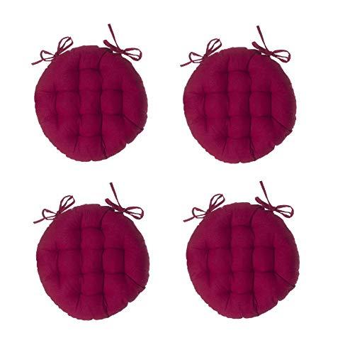 Easydistri Galette De Chaise Ronde - Lot De 4 - D 38 Cm - Rouge-Violet