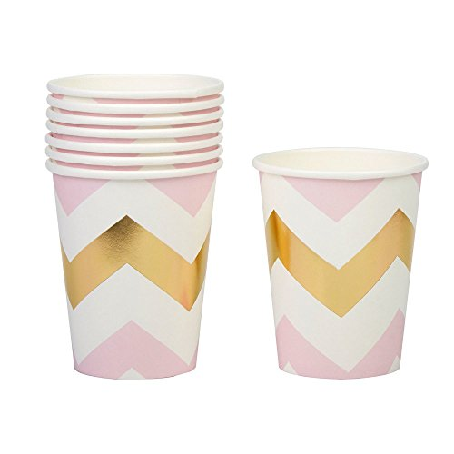 Neviti Motif Fonctionne – Tasse Chevron, Rose, Lot de 8