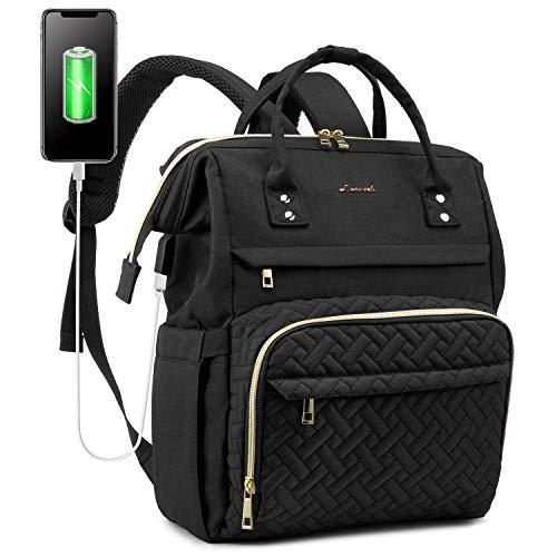 LOVEVOOK Rucksack Damen für Schule, Laptop Rucksack 15,6 Zoll Laptoptasche, Wasserdicht Tagesrucksack mit USB-Ladeanschluss und Anti Diebstahl Tasche für Universität Reise Arbeit, Schwarz