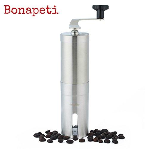 Trita caffè Bonapeti - Macina caffè - Finitura e lame top di gamma - Smerigliatrice in ceramica - Acciaio Inox Spazzolato - Garanzia 1 Anno