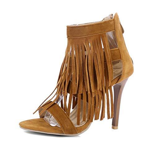 Sandali con Frange delle Donne, A Spillo Smerigliato I Sandali Tacco Alto, Signore Estivi Fondo Sandali Antiscivolo,Giallo,41 EU
