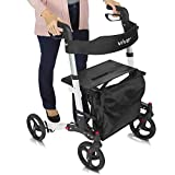 Vive Rollator Walker - Folding 4 Wheel Medical Rolling Walker with Seat & Bag - Mobility Aid for Adult, Senior, Elderly & Handicap - Aluminum Transport Chair (White)