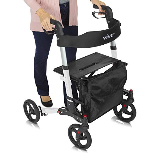 """SUPERIOR SUPPORT AND STABILITY: Heavy duty and durable, the Vive rollator provides stable support, easily maneuvering over any type of surface with large 8"""" sport wheels. The handle height is adjustable for a customized fit for every individual. Supp..."""