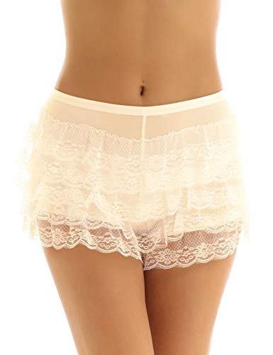Yeahdor Women's Layered Lace Skirted Panties Knicker Bloomers Ruffled Slip Boyshorts Pettipants Underwear Nude One Size