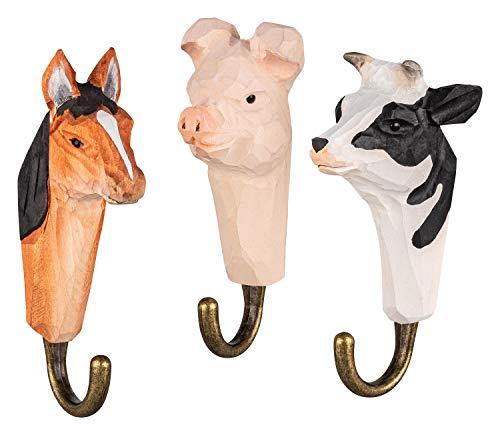 3 Colgadores de Pared Ganchos de Madera para Ropa, Granja: caballo, vaca y cerdo, hechos a mano, con Ganchos de Metal