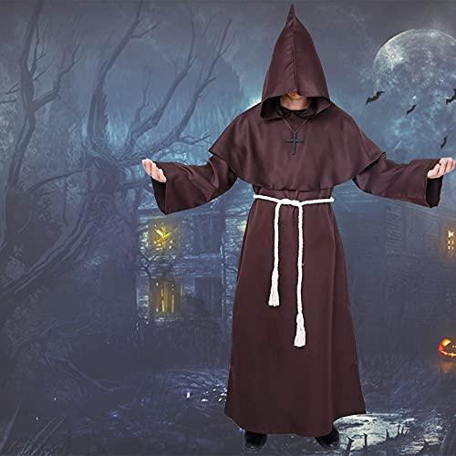 Traje Medieval Encapuchado Disfraz de Monje Sacerdote Túnica Medieval Renacimiento Traje con Cruz para Halloween Carnaval Robe Vampiros Gótico cosplay Capucha hombre ( marrón - L )