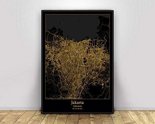 Prints Canvas, Jakarta Indonesia Black&Gold City Light Maps Custom World City Map Posters Canvas Prints Nordic Style Wall Art Home Decor 60X90CM