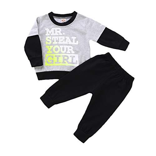 Hui.Hui Ensemble Garçon Fille Parent-Enfant Pyjama,Tops Dessin Animé Imprimé Manches Longues Chemise Blouse et Pantalon Famille Correspondant Vêtements