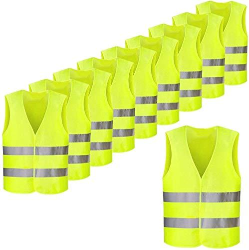 FEMOR Warnwesten EN471 10 Stück Auto Gelb 360 Grad Reflektierende Sicherheitswesten Pannenwesten für Erwachsene Fahrrad Waschbar Knitterfrei(70x 46cm)