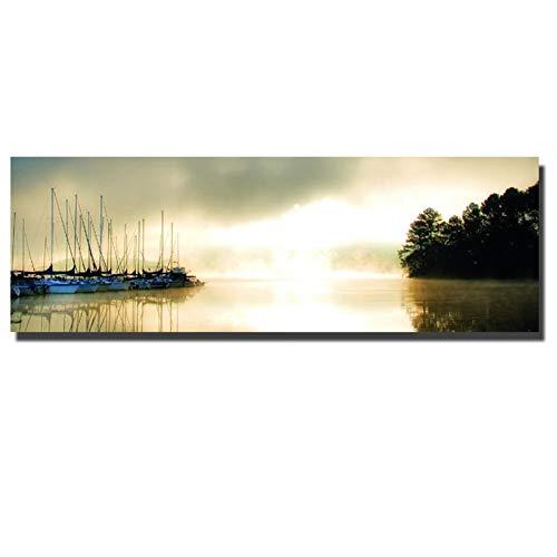 WHFLLDH Hd Print grote grootte zonsondergang landschap canvas schilderij bed kamer muur frameloze boot zeeland warme bonte poster 40x120cm unfraned geel