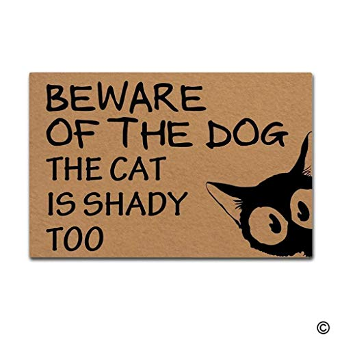 Felpudo de Entrada Felpudo Divertido Cuidado con el Perro El Gato es sombrío Demasiado Interior Alfombrilla para Puerta Exterior Alfombrilla Antideslizante Tejido no Tejido Lavable a máquina