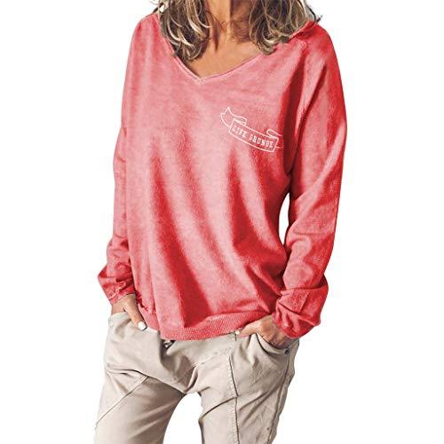 YWLINK Sudadera Casual para Mujer Sexy Cuello En V Color Liso ImpresióN De Cartas Camiseta Holgada De Gran TamañO Jersey Suave Y CóModo Arriba Adecuado para Todos Los DíAs/Fiesta Ropa