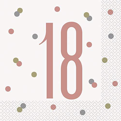 Unique Party 84880 Servietten zum 18. Geburtstag, glitzernd, Roségold, 16 Stück, rose gold, Age