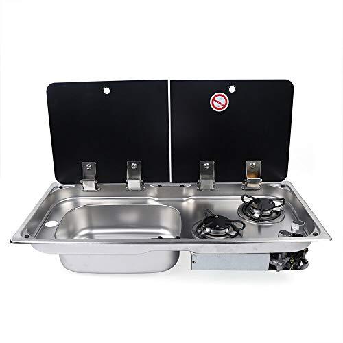 Table de Cuisson Gaz 2x Brûleurs Cuisinière à gaz 2 brûleurs Evier Combo avec Couvercle Plaque de Verre GR-904LD pour voiture, camion, camping-car et bateau