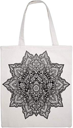 Eastern Culture Mandala with Aztec Tribal Textured Ornamental Cosmos Floral Pattern Shoulder Bag Canvas Tote Bag, Reusable Grocery Shopping Cloth Bags, Double-sided Printing Tote Handbags