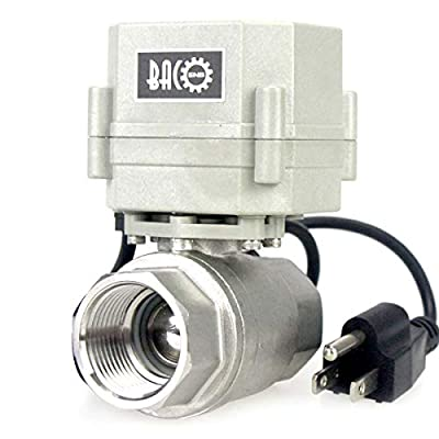 """BACOENG 1"""" DN25 110VAC Stainless Steel Motorized Ball Valve 2 Way/Zone Valve with US Plug(NC CR202 2 Wires Control Electrical Ball Valve) by BACO ENGINEERING"""