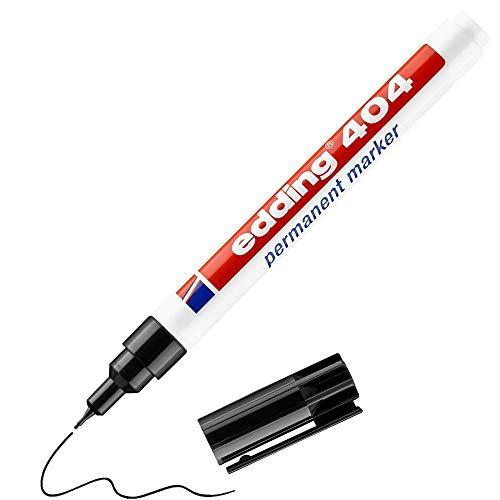 Edding 404 Marcatore permanente - nero - 1 marcatore - punta tonda fine 0,75 mm - pennarello impermeabili, ad asciugatura rapida, non sbava - per cartone, plastica, legno, metallo, vetro e tessuto