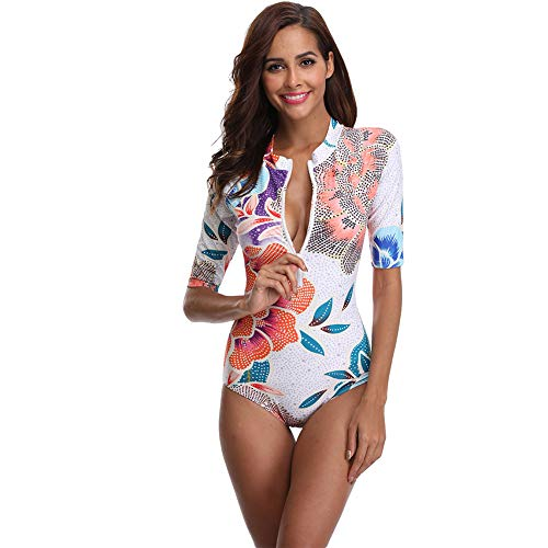 Womens Swimwear Monokini Swimsuits Sexy Floral One Piece Short Sleeve Bathing Suits (2064, S)