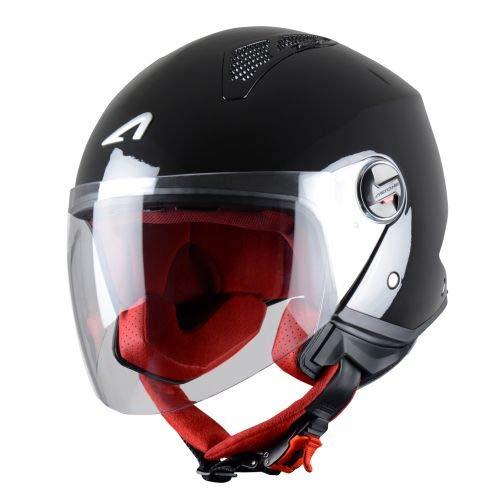 Astone Helmets - MINIJET monocolor - Casque jet - Casque jet urbain - Casque moto et scooter compact - Coque en polycarbonate - Black Gloss M