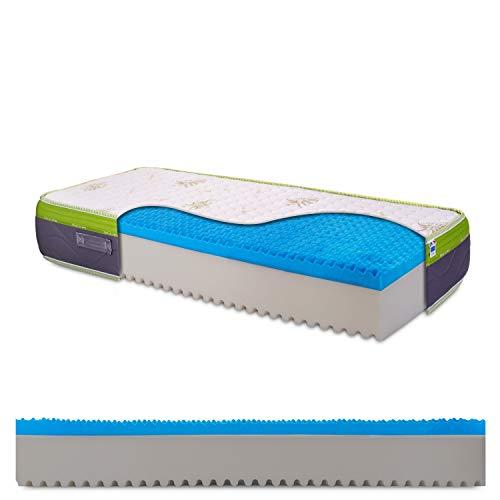 Materasso singolo in memory gel breeze bugnato, alta portanza, tessuto aloe vera, ortopedico, alto 30cm, 100% Made in Italy - mod. Top30-80 x 200 cm (singolo)