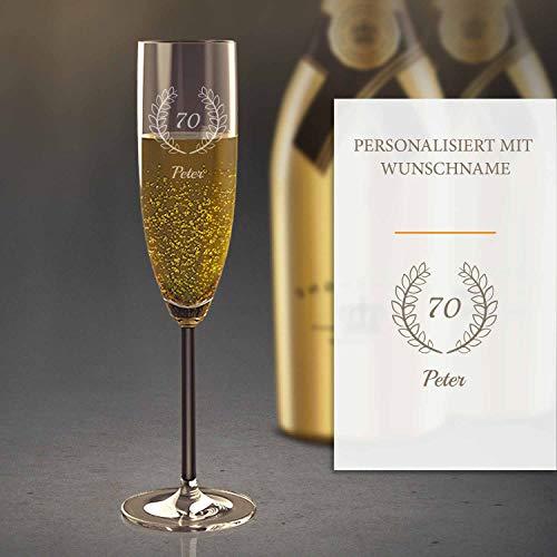 Sektglas Personalisiert mit Gravur (70. Geburtstag) | Edles Sekt-Glas mit Namen | Personalisierte individuelle Geschenkidee | Geeignet für Champagner & Sekt