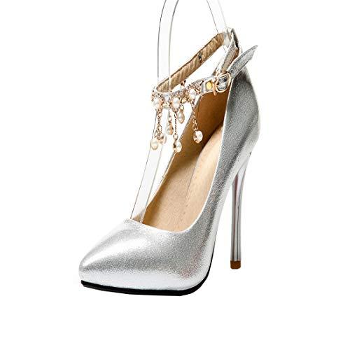 AIMODOR Damen Spitze High Heels Stiletto Pumps mit Schnalle und Fransen 9cm Absatz Hochzeit Schuhe (Silber,40)