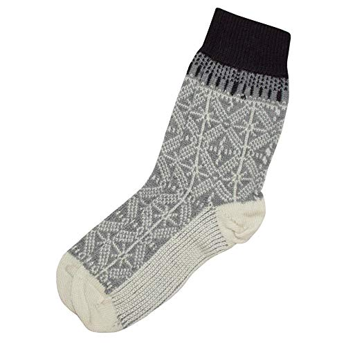 HIRSCH Natur, Umschlag-Socken, 100prozent Wolle (kbT) (42/43, Hellgrau/Natur)