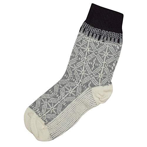HIRSCH Natur, Umschlag-Socken, 100prozent Wolle (kbT) (40/41, Hellgrau/Natur)