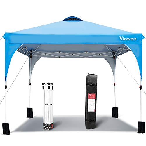 Viewee Canopy Tent 10' x 10' Anti-UV, Impermeable Pop-up Shelter Canopy, Outdoor Tent Adjustable Height with Wheeled Carrying Bag and 4 Sandbags