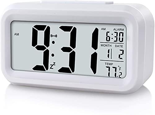 Sveglia con display a LED digitale, sveglia per bambini, orologio da comodino, con luce notturna, con data, calendario, temperatura per casa, ufficio, viaggi, colore: bianco