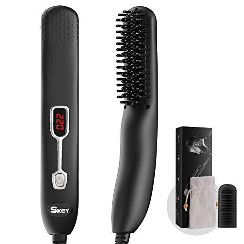 Alisador Barba SKEY, Cepillo Alisador de Pelo 2 en 1, Plancha Barba 120-220 ° C con función anión, pantalla LCD y cubierta protectora de silicona, negro