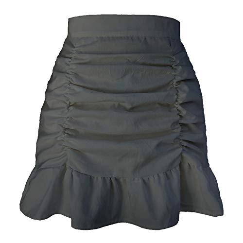 HRSD Casual Mini Falda De Multifuncional Estampado Mujer Volantes Básica Plisada Falda Cortas Bohemio Corto Cremallera Playa Vacaciones Faldas,Negro,M