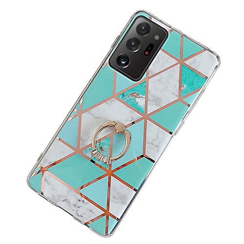 Herbests Kompatibel mit Samsung Galaxy Note 20 Ultra Hülle Bunt Marmor Muster TPU Silikon Handyhülle Glänzend Bling Glitzer Diamant Strass Ring Halter Ständer Crystal Case Tasche Schutzhülle,Grün