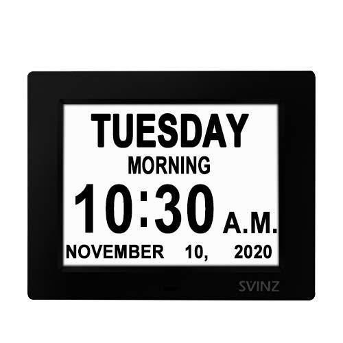 "SVINZ Newest 5 Alarms Dementia Clock, Day Clock w/ Snooze Button, 2 Auto-Dim Options, Large 8"" Display Wall Digital Calendar Alarm Clock for Vision Impaired, Elderly, Memory Loss, Black, Best Dementia Clocks"