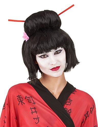 Vegaoo - Geisha Perücke für Damen Hochsteckfrisur schwarz - Einheitsgröße