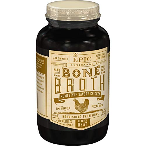 EPIC Homestyle Savory Chicken Bone Broth, Whole30, 14 fl oz (Pack of 6)