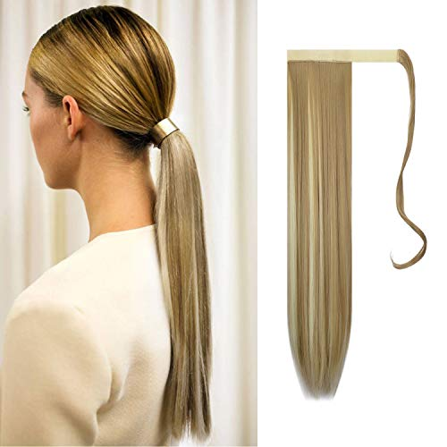 FESHFEN Posticci per capelli Extension Coda Di Cavallo Capelli Lunga Estensione Capelli sintetica a coda di cavallo lunga e dritta 61cm, 125g