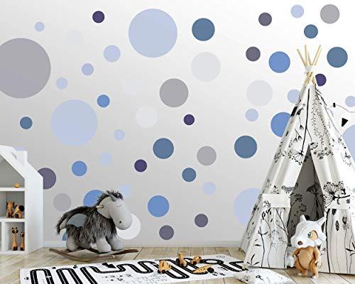 100 wandtattoo Punkte wandsticker Kreise fürs Kinderzimmer - Set Farben, Dots zum Kleben Wandaufkleber Wanddeko - Wandfolie, Kleinkinder, Erstausstattung auf Rauhfaser Türkis - Königsblau - Silbergrau