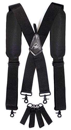 Tool Belt Suspenders- Heavy Duty Work Suspenders for Men, Tool Harness, Adjustable, Comfortable and Padded -Includes- Tool Belt Loops and Strong Trigger Snap Clips by ToolsGold