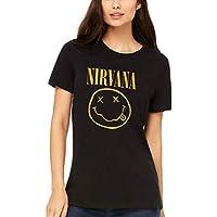 AWDIP Camiseta Oficial Nirvana Smiley para Mujer