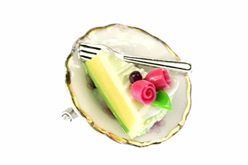 Miniblings Slice of Cake On Plate Brooch Pin Porcelain Ceramic Pie Tarte Flowers