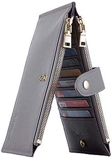 Travelambo Womens Walllet RFID Blocking Bifold Multi Card Case Wallet with Zipper Pocket Crosshatch (Grey 4074)