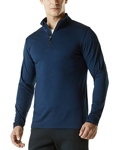 TSLA Men's Winterwear Sporty Slim Fit 1/4 Zip Fleece Lining Sweatshirt, Fleece Quarterzip(ykz01) - Heather Navy, Large